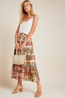 Vineet Bahl Wildflower Tiered Midi Skirt By in Assorted Size XL