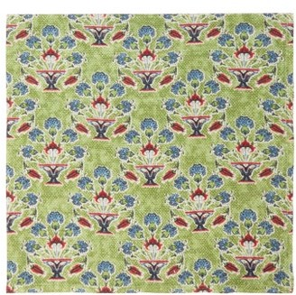D'Ascoli Set Of Four Symryna Cotton Napkins - Green Print
