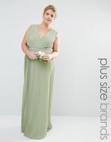 TFNC Plus Wedding Pleated Embellished Wrap Maxi Dress