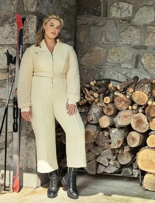 ELOQUII Faux Fur Sleeve Snowsuit