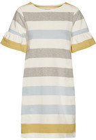Chinti and Parker Ruffle-trimmed Striped Cotton Mini Dress - Chartreuse
