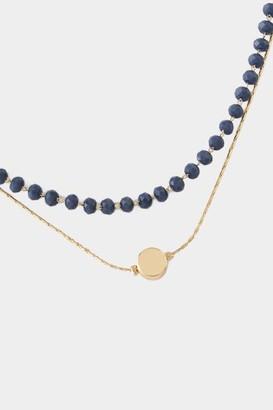 francesca's Jennifer Coin Pendant Rosary Choker - Navy