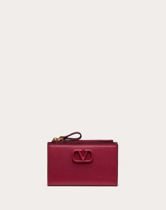 Valentino Vsling Grainy Calfskin Cardholder With Zipper Women Raspberry Pink Calfskin 100% OneSize