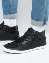 Brave Soul Hi Top Woven Sneakers In Black