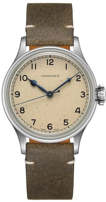 Longines Heritage Military Stainless Steel & Leather Strap Watch