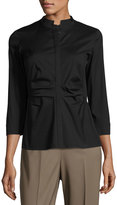 Lafayette 148 New York Fredrica Ruched-Front Top, Black
