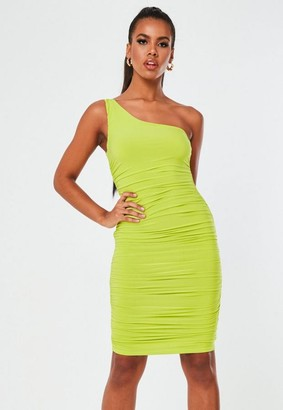 Missguided Tall Lime Slinky Ruched One Shoulder Mini Dress