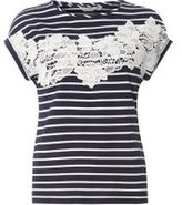 Dorothy Perkins Womens Petite Navy And White Stripe Lace T-Shirt- Blue