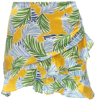 Bec & Bridge Palm Paradise Printed Satin Mini Skirt