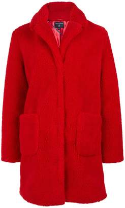 Dorothy Perkins Womens Red Longline Teddy Coat, Red