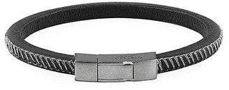 Tateossian Click Pelle Leather & Rhodium-Plated Silver Gunmetal Bracelet