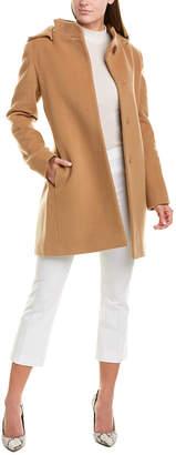 Cinzia Rocca Hooded Wool & Cashmere-Blend Coat