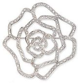 Sterling Silver Rose Shaped Cubic Zirconia  Brooch