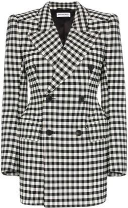 Balenciaga checked wool hourglass waist blazer