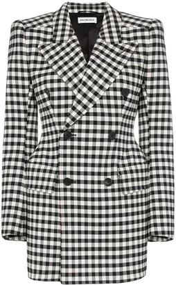 Balenciaga Checked Wool Hourglass Waist Blazer
