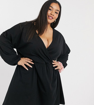 ASOS DESIGN Curve Wrap front long sleeve smock dress in black