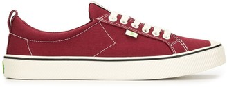 Cariuma OCA Low Stripe Burgundy Red Canvas Sneaker