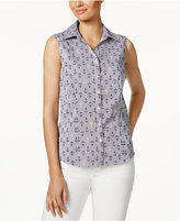 Charter Club Petite Anchor-Print Shirt, Only at Macy's