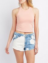 Charlotte Russe Open Back Cropped Tank Top