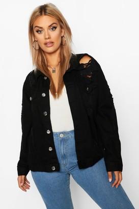 boohoo Plus Oversized Distressed Denim Jacket