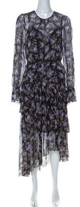 Zimmerman Black Lavender Print Chiffon Asymmetric Ruffle Detail Dress L