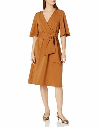 Moon River Women's Slit Detailed 3/4 Sleeve Midi Dress