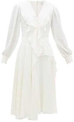 Alexander McQueen Ruffled Button-down Silk-georgette Midi Dress - Womens - White