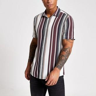 River Island White stripe short sleeve slim fit shirt
