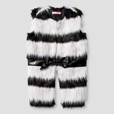 Say What Girls' Hooded Fur Vest - Black/white