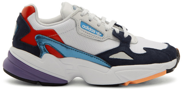 79d185bc965 White and Navy Falcon Sneakers