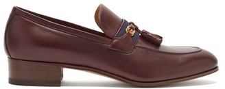 Gucci Web-striped Leather Loafers - Burgundy