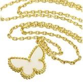 Van Cleef & Arpels 18K Yellow Gold White Shell Papillon Pendant Necklace