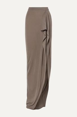 Rick Owens Draped Cashmere Maxi Skirt - Gray