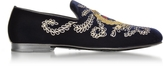 Jimmy Choo Dark Navy Blue Embroidered Velvet Slippers