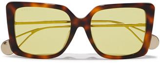 Gucci Square-frame Gold-tone And Tortoiseshell Acetate Mirrored Sunglasses