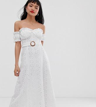 Asos DESIGN Petite bardot maxi broderie sundress with tortoiseshell belt-White