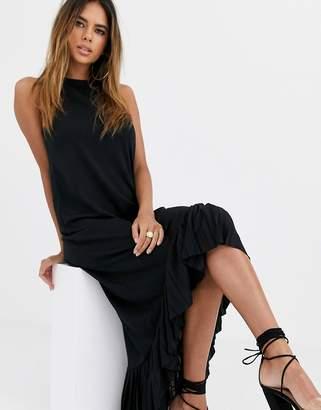 Asos Design DESIGN high low midi dress with pleat hem-Black