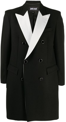 Just Cavalli Contrasting Lapel Double-Breasted Coat