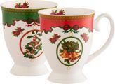 Aynsley Christmas Footed Mugs Set of 2