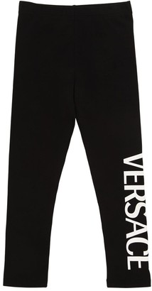 Versace Logo Print Cotton Jersey Leggings