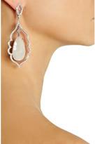 Loree Rodkin Open Leaf 18-karat white gold, umba sapphire and diamond earrings