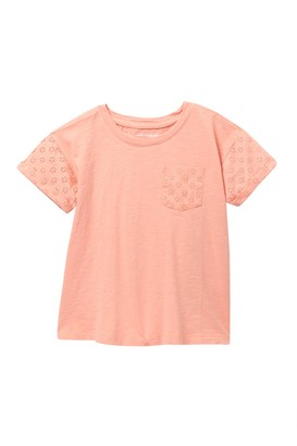Joe Fresh Eyelet Sleeve Tee (Little Girls & Big Girls)