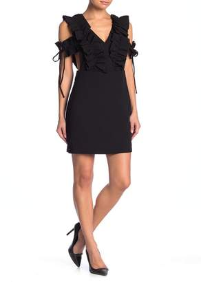 Endless Rose Plunged Neck Fitted Ruffle Mini Dress