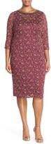 London Times Embellished Neck Lace Sheath Dress (Plus Size)