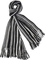 Karen Studio Men's 100% Fine Acrylic Striped Knit Long Stylish Scarf, Grey White Black