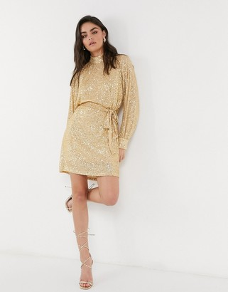 Pretty Lavish balloon sleeve sequin mini dress in gold