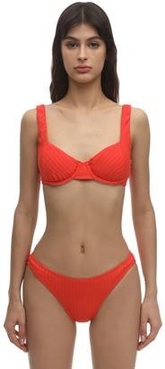 Peony Swimwear Tangerine Ribbed Balconette Bikini Top