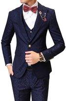Ouye Men's Leaf Patterned Jacquard 1 Button 3 Piece Suit Jacket Vest Pants Set Medium