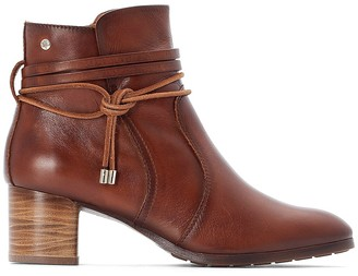 PIKOLINOS Calafat Leather Ankle Boots with Block Heel