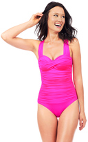 Voda Swim Bright Pink Envy Push Up Bandeau One Piece